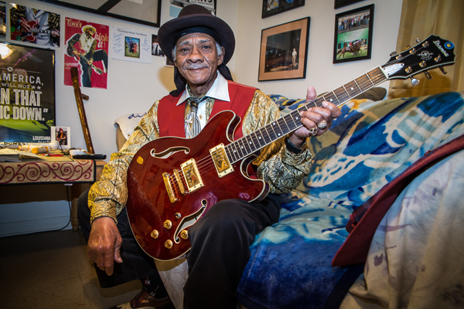 Little Freddie King at home in New Orleans. Photo by Julie Dermansky.