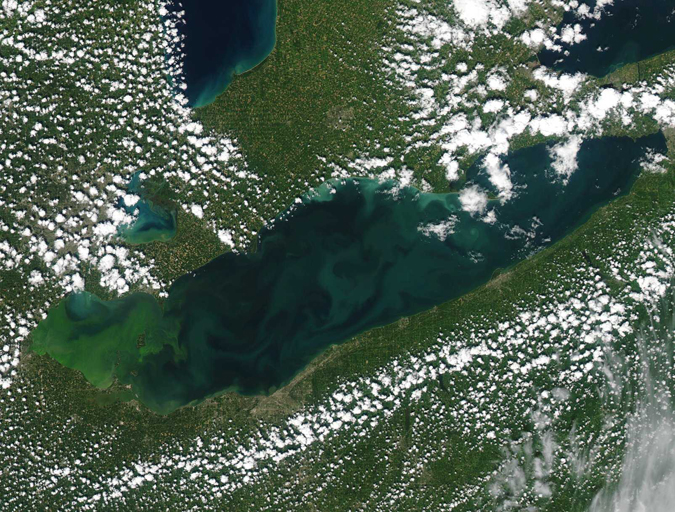 A satellite image of Lake Erie, with Toledo on the western side. Photo courtesy of NOAA.