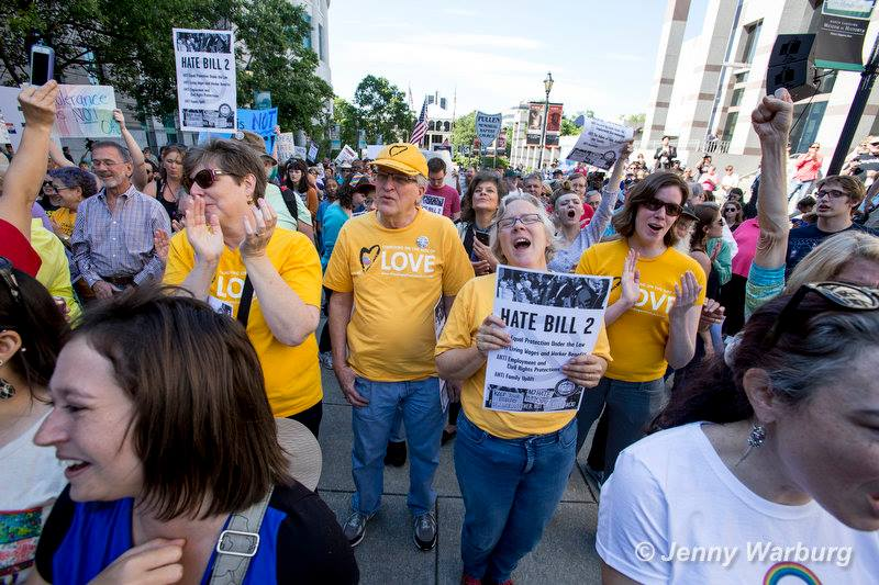 Moral Monday activistsin North Carolina protest House Bill 2 on May 16, 2016. Eleven people were arrested that day. Photo by Jenny Warburg.