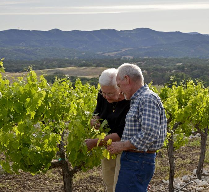 Paula and Paul Getzelman at Tre Gatti Vineyards.